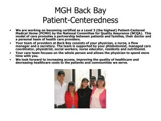 MGH Back Bay Patient-Centeredness