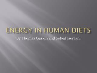 Energy in Human Diets
