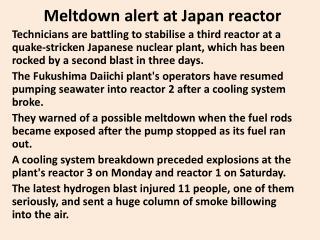 Meltdown  alert at Japan reactor