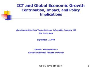 ICT and Global Economic Growth  Contribution, Impact, and Policy Implications