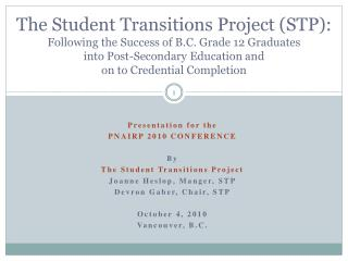Presentation for the PNAIRP 2010 CONFERENCE By  The Student Transitions Project