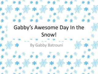 Gabby's  Awesome  Day In the Snow!