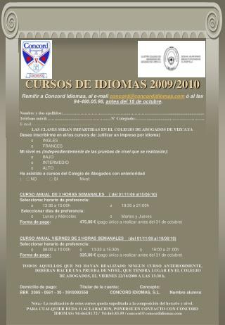 CURSOS DE IDIOMAS 2009/2010