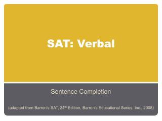 SAT: Verbal