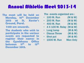Annual Athletic Meet 2013-14