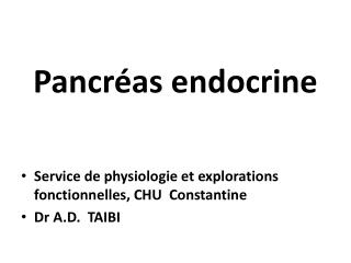 Pancr�as endocrine