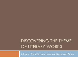 Discovering the theme of literary works