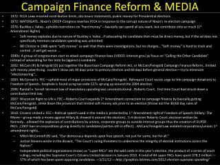 Campaign Finance Reform & MEDIA