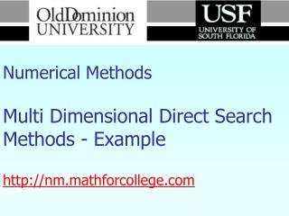 Numerical Methods Multi Dimensional Direct Search Methods - Example  nm.mathforcollege