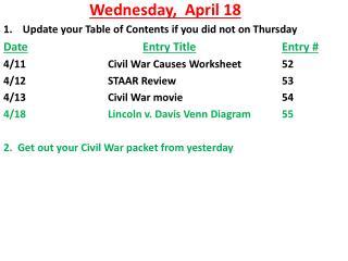 Wednesday,   April  18