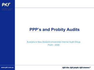 PPP's and Probity Audits