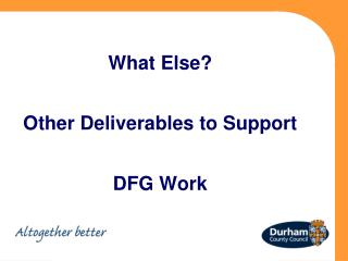What Else? Other Deliverables to Support DFG Work