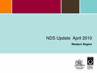 NDS Update  April 2010  Western Region