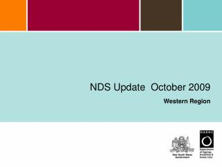 NDS Update  October 2009  Western Region