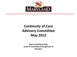 Continuity of Care  Advisory Committee May 2012