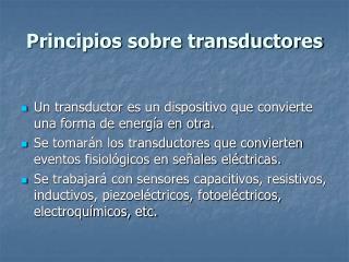 Principios sobre transductores