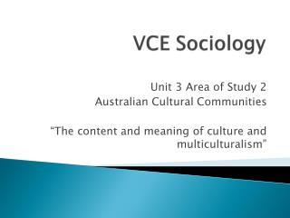 VCE Sociology