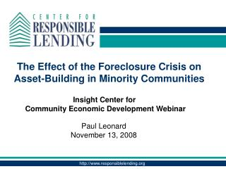 The Effect of the Foreclosure Crisis on Asset-Building in Minority Communities