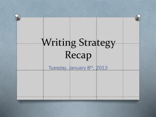 Writing Strategy Recap