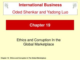 Ethics and Corruption In the Global Marketplace
