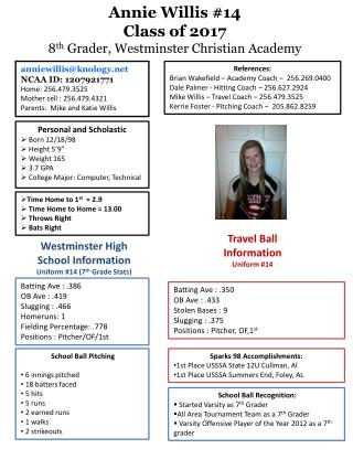 """Personal and Scholastic Born 12/18/98  Height 5'9""""  Weight 165  3.7 GPA"""