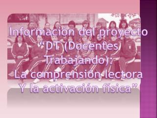 """Información del proyecto  """"DT (Docentes Trabajando): La comprensión lectora"""