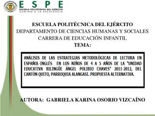 ESCUELA POLIT�CNICA DEL EJ�RCITO DEPARTAMENTO DE CIENCIAS HUMANAS Y SOCIALES