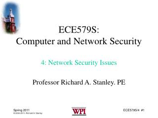 ECE579S: Computer and Network Security 4: Network Security Issues
