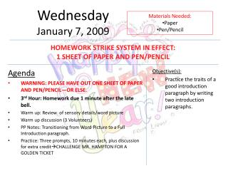 Wednesday January 7, 2009