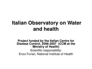 Italian Observatory on Water and health