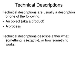 Technical Descriptions