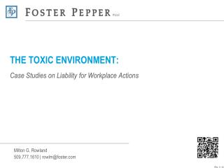 THE TOXIC ENVIRONMENT: