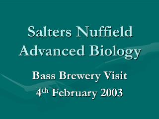Salters Nuffield Advanced Biology