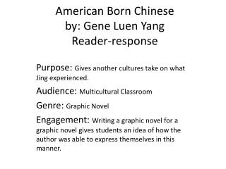 American Born Chinese  by: Gene  Luen  Yang Reader-response