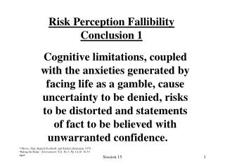 Risk Perception Fallibility Conclusion 1