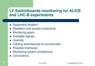 LV Switchboards monitoring for ALICE and LHC-B experiments