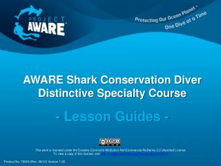 AWARE Shark Conservation Diver  Distinctive Specialty Course - Lesson Guides -