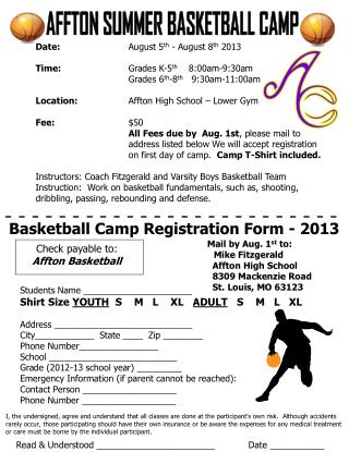 AFFTON SUMMER BASKETBALL CAMP
