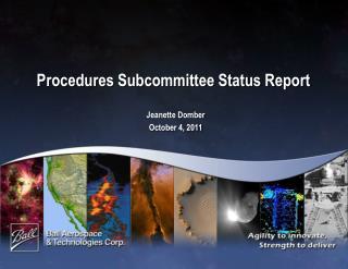 Procedures Subcommittee Status Report