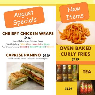 CHRISPY CHICKEN WRAPS    $ 5.59 Crispy Chicken, Lettuce, Tomatoes, Onions