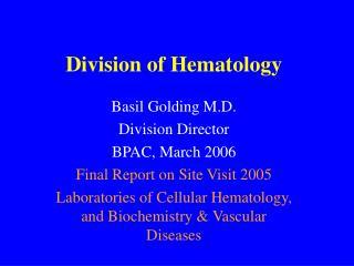 Division of Hematology