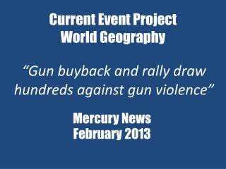 Current Event Project World Geography