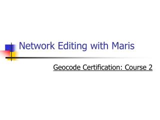 Network Editing with Maris
