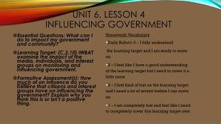 Unit 6, Lesson 4 Influencing Government