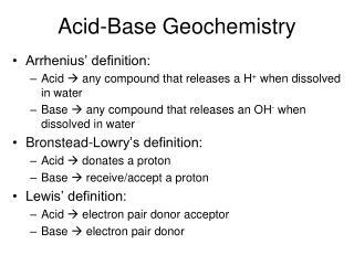 Acid-Base Geochemistry