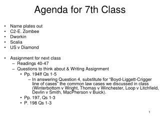 Agenda for 7th Class