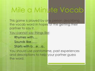 Mile a Minute Vocab