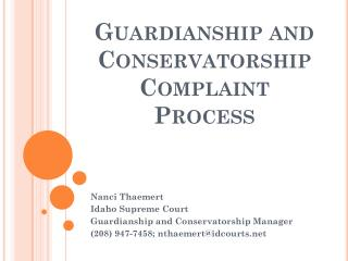 Guardianship and Conservatorship Complaint Process