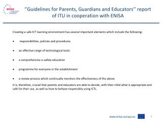 ''Guidelines for Parents, Guardians and Educators'' report of ITU in cooperation with ENISA