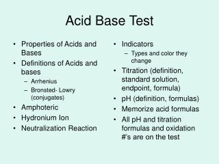 Acid Base Test